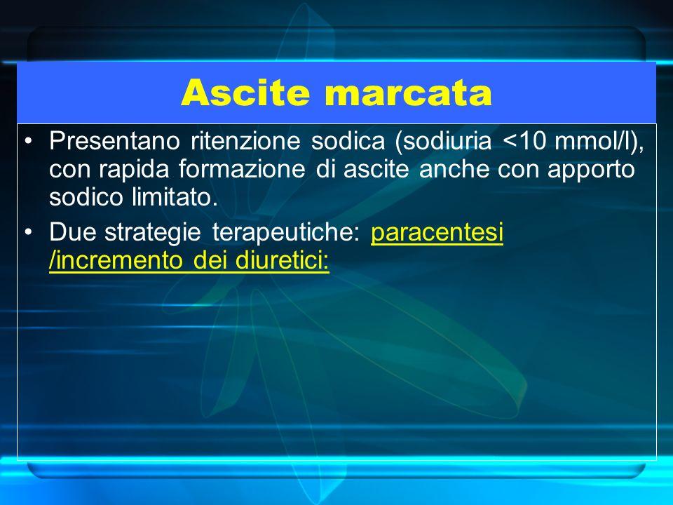 Ascite marcata Presentano ritenzione sodica (sodiuria <10 mmol/l), con rapida formazione di ascite anche con apporto sodico limitato. Due strategie te