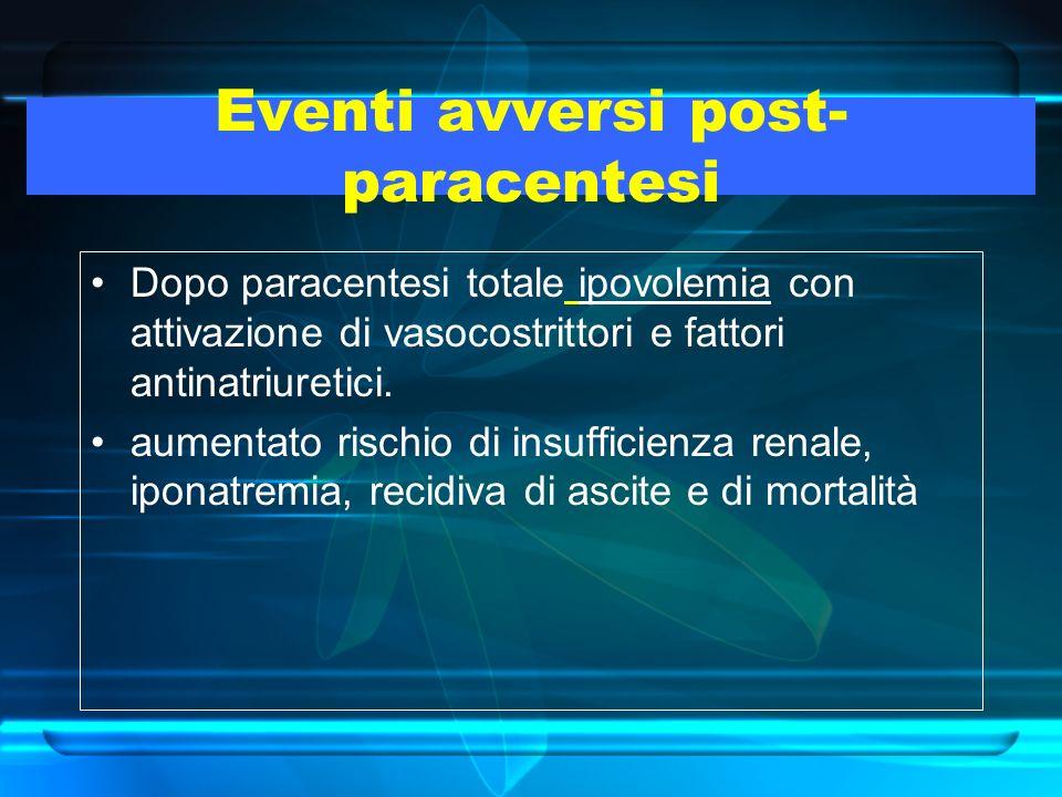 Eventi avversi post- paracentesi Dopo paracentesi totale ipovolemia con attivazione di vasocostrittori e fattori antinatriuretici. aumentato rischio d