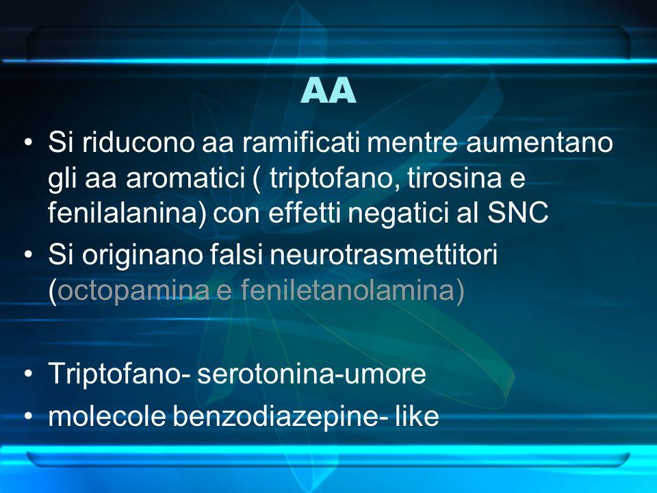 AA Si riducono aa ramificati mentre aumentano gli aa aromatici ( triptofano, tirosina e fenilalanina) con effetti negatici al SNC Si originano falsi n