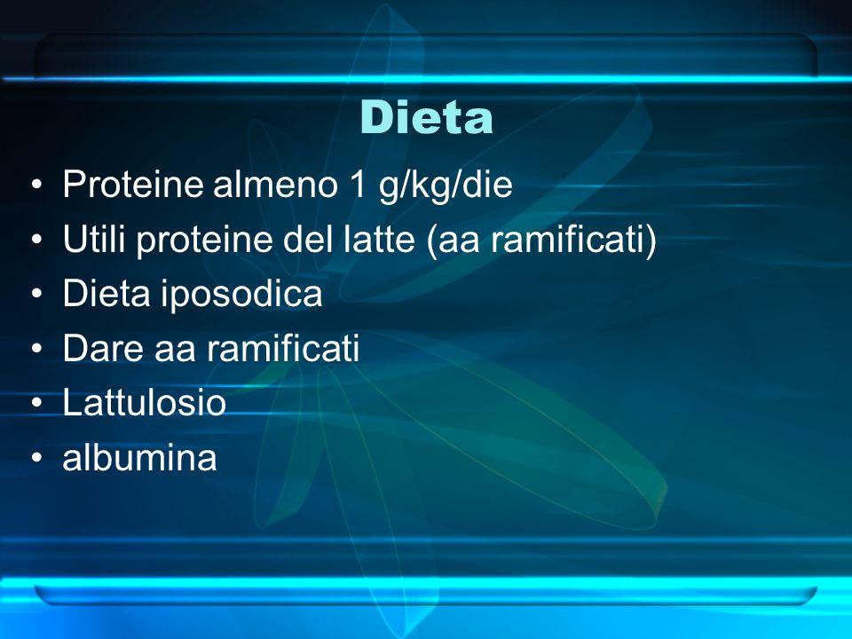 Dieta Proteine almeno 1 g/kg/die Utili proteine del latte (aa ramificati) Dieta iposodica Dare aa ramificati Lattulosio albumina