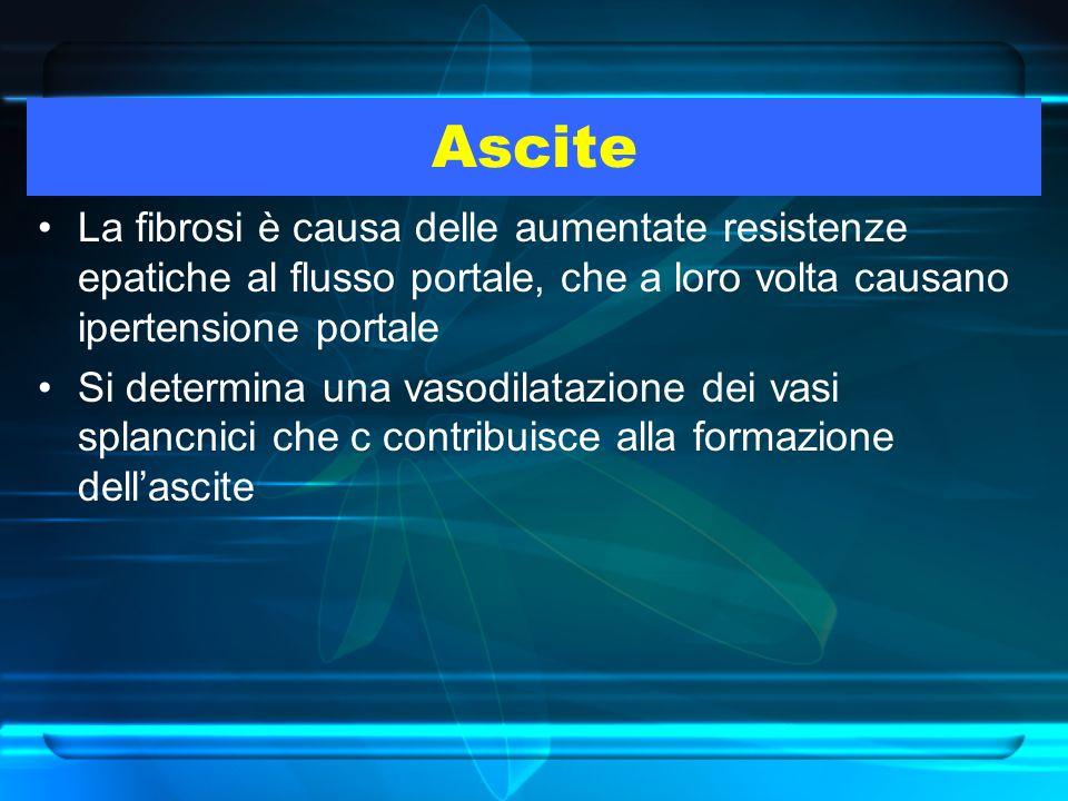 Ascite La fibrosi è causa delle aumentate resistenze epatiche al flusso portale, che a loro volta causano ipertensione portale Si determina una vasodi