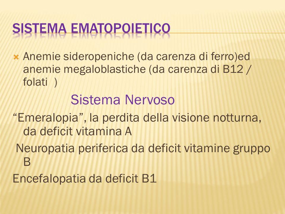 Anemie sideropeniche (da carenza di ferro)ed anemie megaloblastiche (da carenza di B12 / folati ) Sistema Nervoso Emeralopia, la perdita della visione