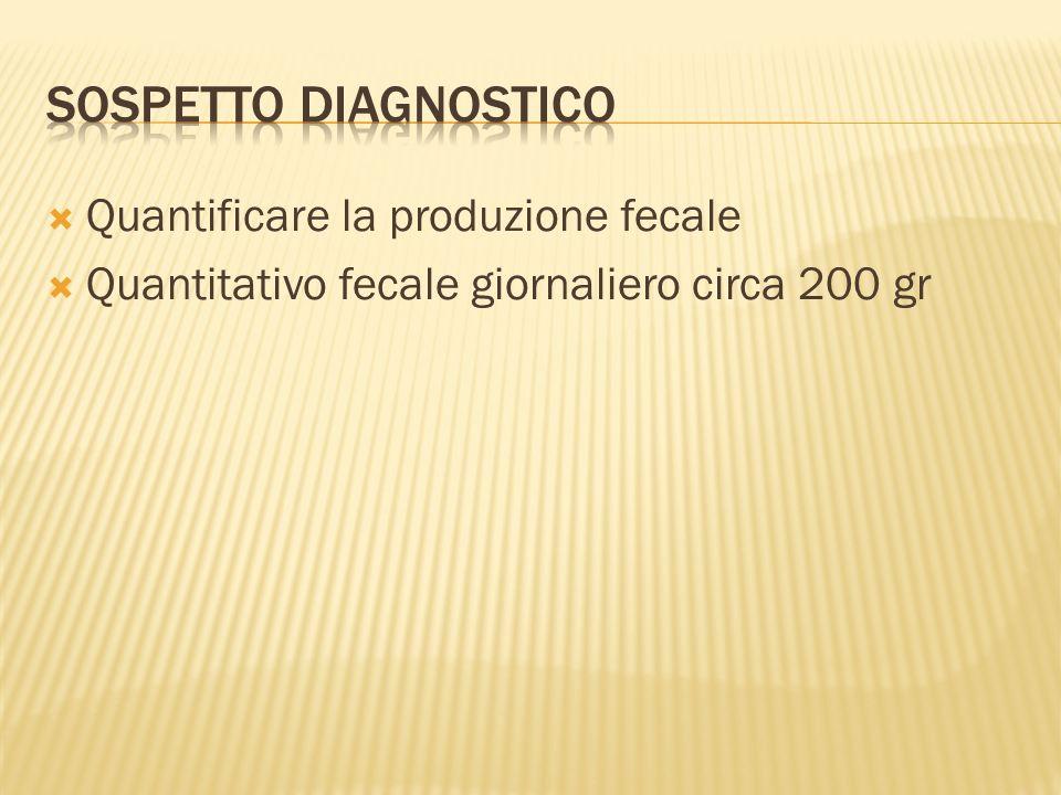 Quantificare la produzione fecale Quantitativo fecale giornaliero circa 200 gr