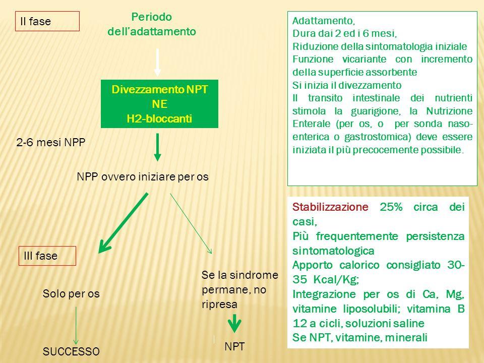 Periodo delladattamento Divezzamento NPT NE H2-bloccanti Adattamento, Dura dai 2 ed i 6 mesi, Riduzione della sintomatologia iniziale Funzione vicaria