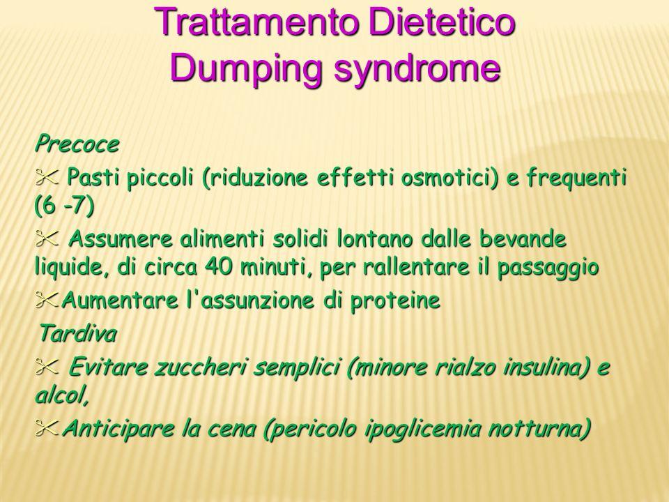 Trattamento Dietetico Dumping syndrome Precoce Pasti piccoli (riduzione effetti osmotici) e frequenti (6 -7) Pasti piccoli (riduzione effetti osmotici