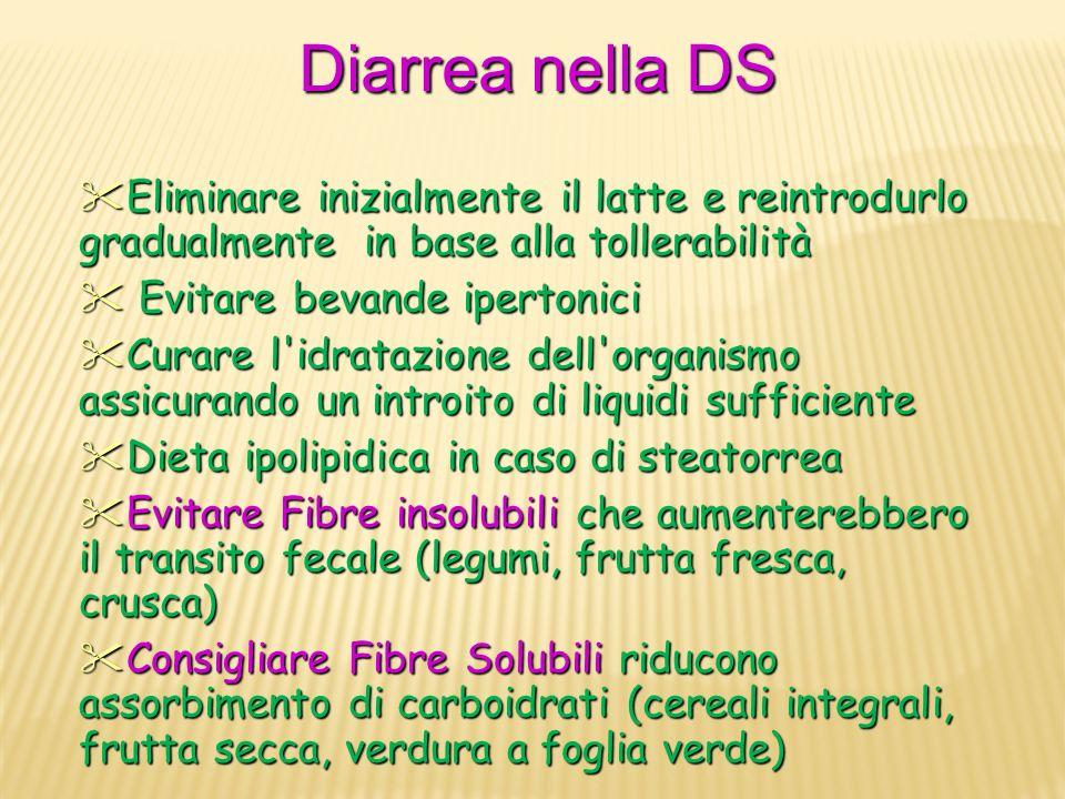 Diarrea nella DS Eliminare inizialmente il latte e reintrodurlo gradualmente in base alla tollerabilità Eliminare inizialmente il latte e reintrodurlo