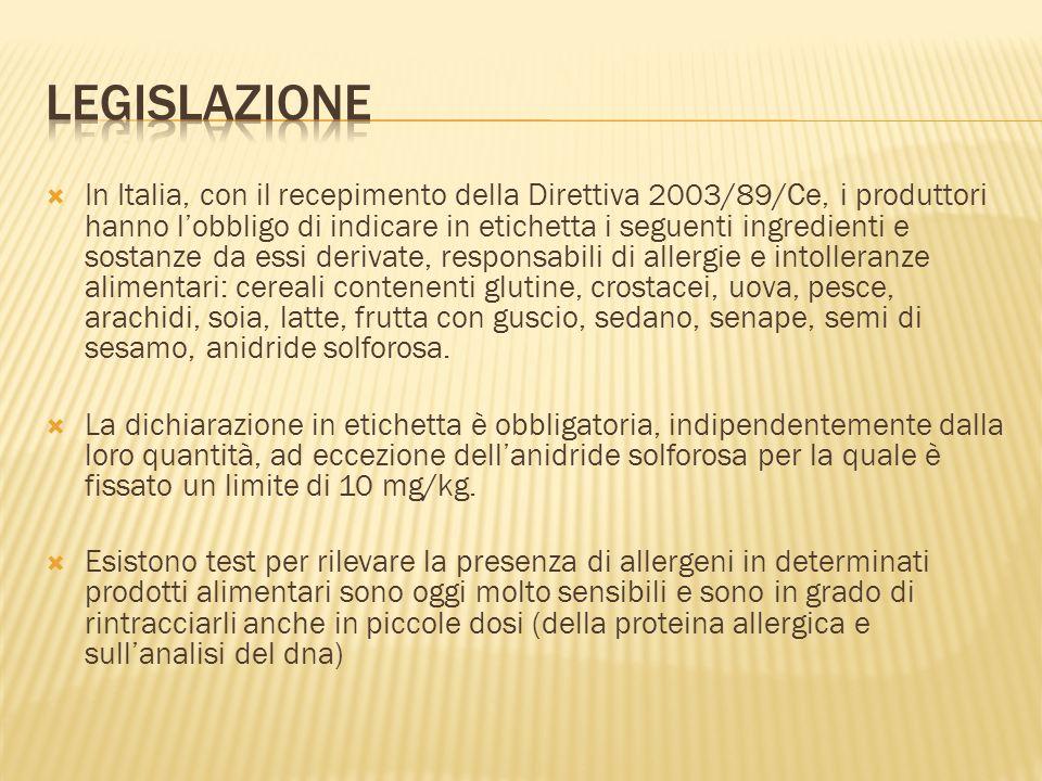 In Italia, con il recepimento della Direttiva 2003/89/Ce, i produttori hanno lobbligo di indicare in etichetta i seguenti ingredienti e sostanze da es