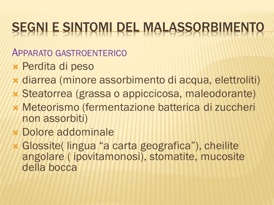 A PPARATO GASTROENTERICO Perdita di peso diarrea (minore assorbimento di acqua, elettroliti) Steatorrea (grassa o appiccicosa, maleodorante) Meteorism