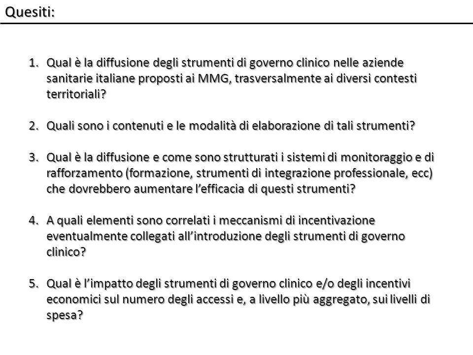 Quesiti: 1.Qual è la diffusione degli strumenti di governo clinico nelle aziende sanitarie italiane proposti ai MMG, trasversalmente ai diversi contesti territoriali.