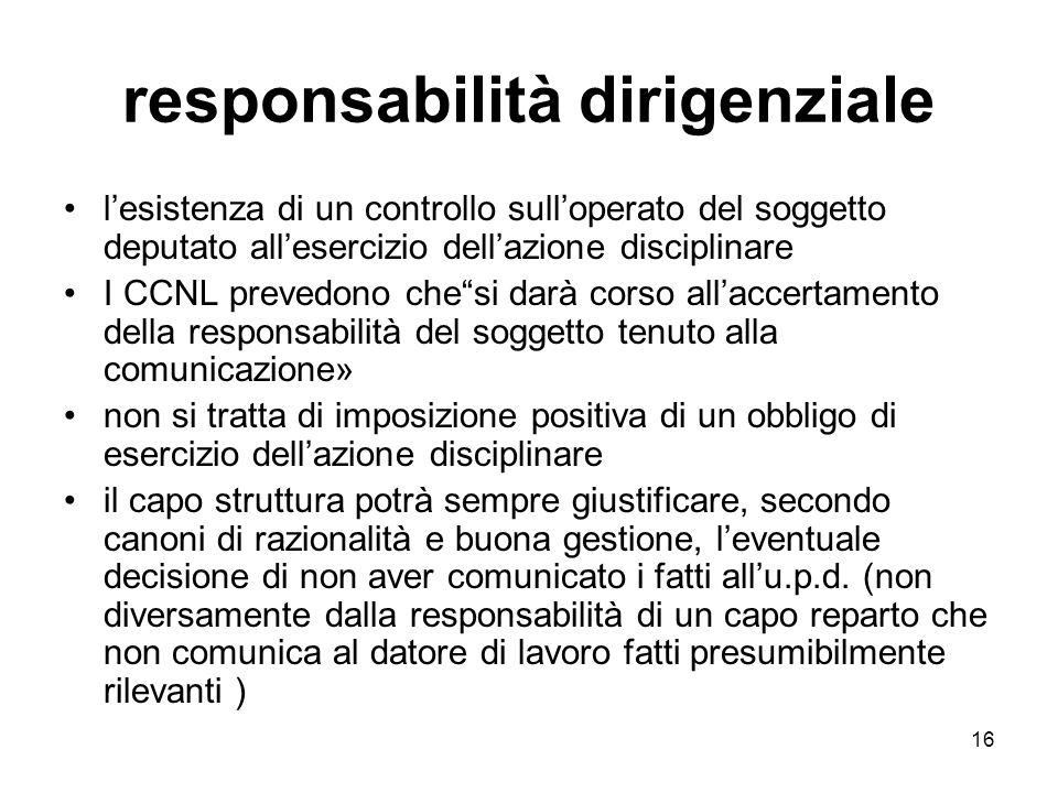 16 responsabilità dirigenziale lesistenza di un controllo sulloperato del soggetto deputato allesercizio dellazione disciplinare I CCNL prevedono ches