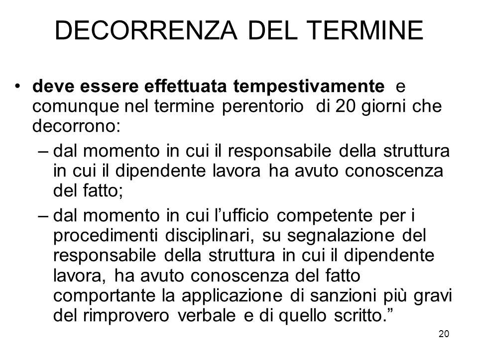 20 DECORRENZA DEL TERMINE deve essere effettuata tempestivamente e comunque nel termine perentorio di 20 giorni che decorrono: –dal momento in cui il
