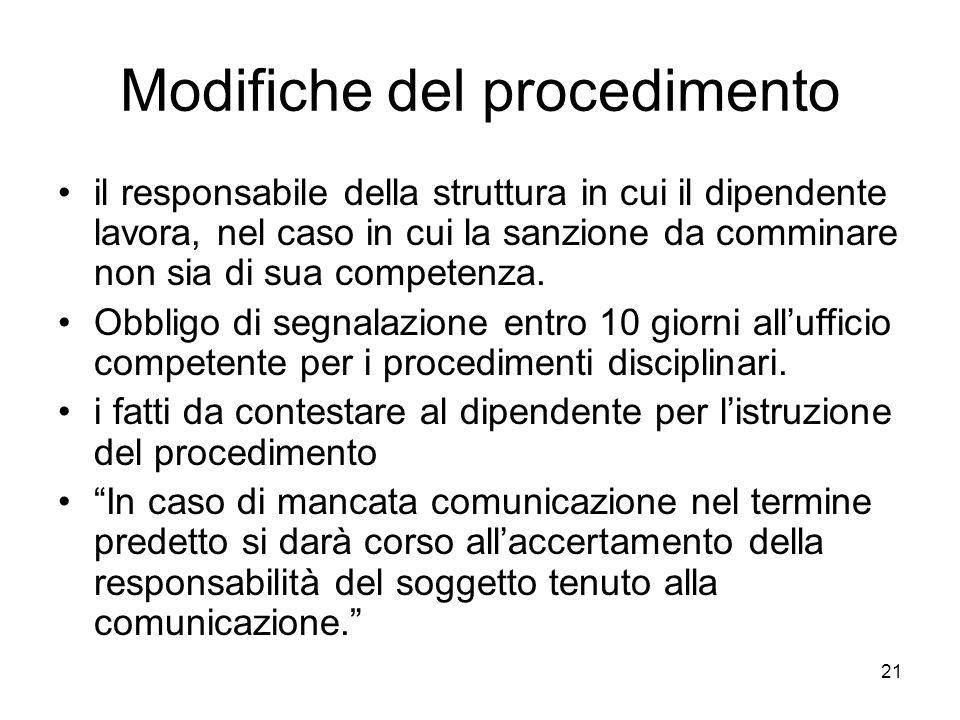 21 Modifiche del procedimento il responsabile della struttura in cui il dipendente lavora, nel caso in cui la sanzione da comminare non sia di sua com