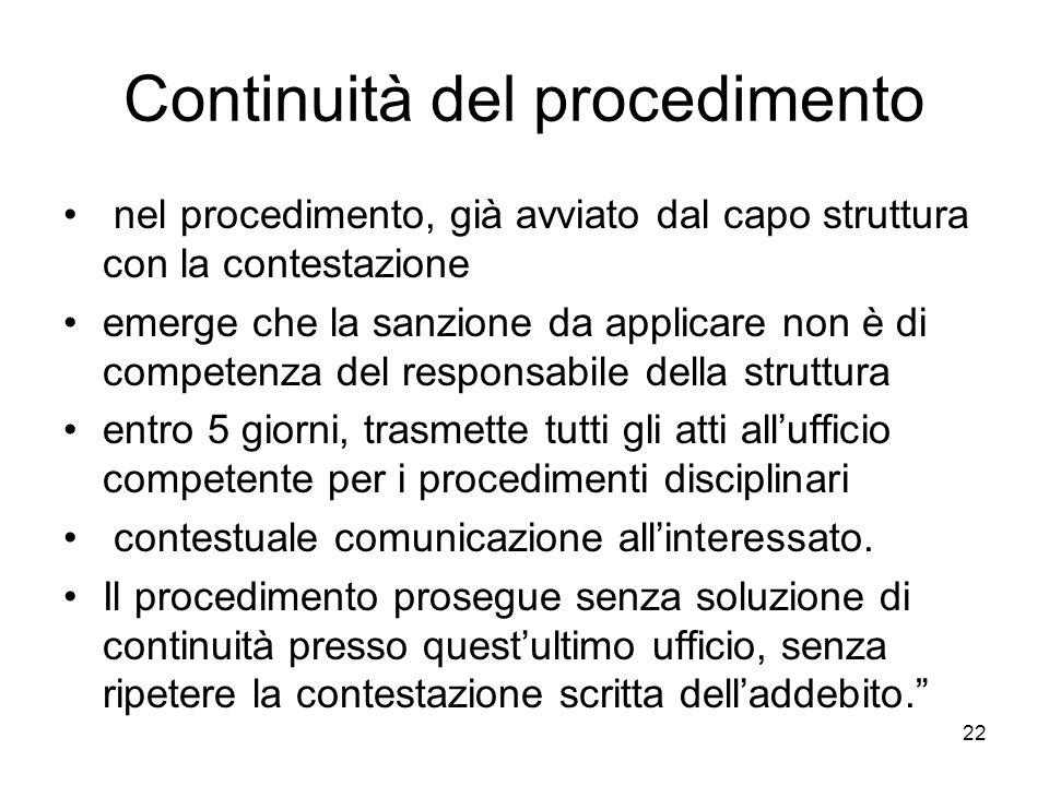 22 Continuità del procedimento nel procedimento, già avviato dal capo struttura con la contestazione emerge che la sanzione da applicare non è di comp