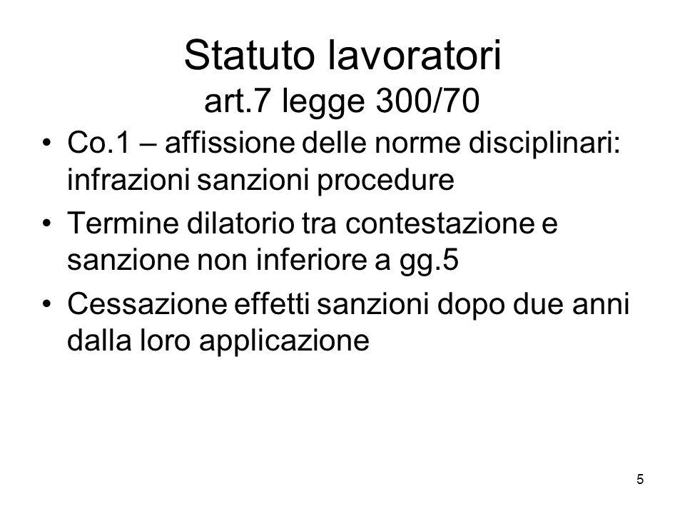 5 Statuto lavoratori art.7 legge 300/70 Co.1 – affissione delle norme disciplinari: infrazioni sanzioni procedure Termine dilatorio tra contestazione