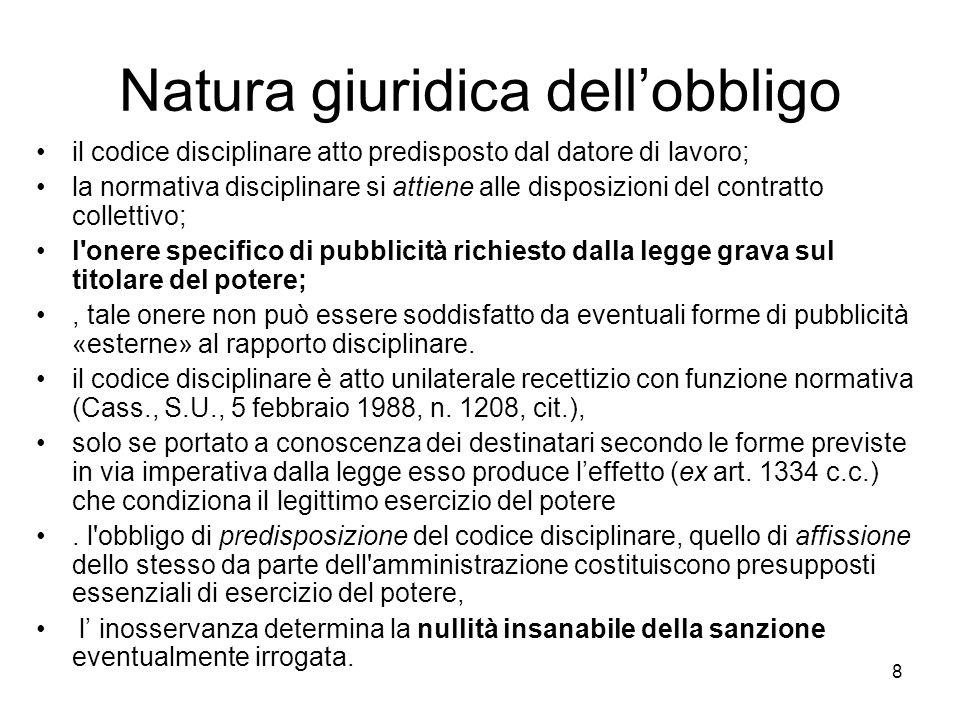8 Natura giuridica dellobbligo il codice disciplinare atto predisposto dal datore di lavoro; la normativa disciplinare si attiene alle disposizioni de