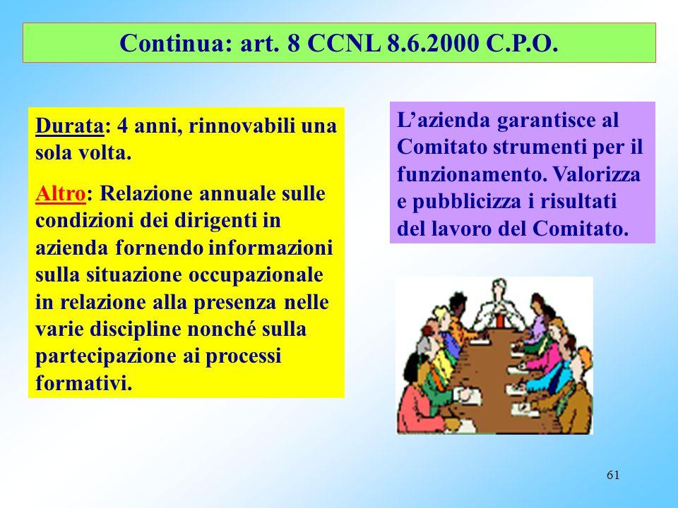 60 Continua: art. 8 CCNL 8.6.2000 C.P.O. Costituzione: 1 componente per ciascuna O.S. firmataria del CCNL e numero pari rappresentanti aziendali. Il P