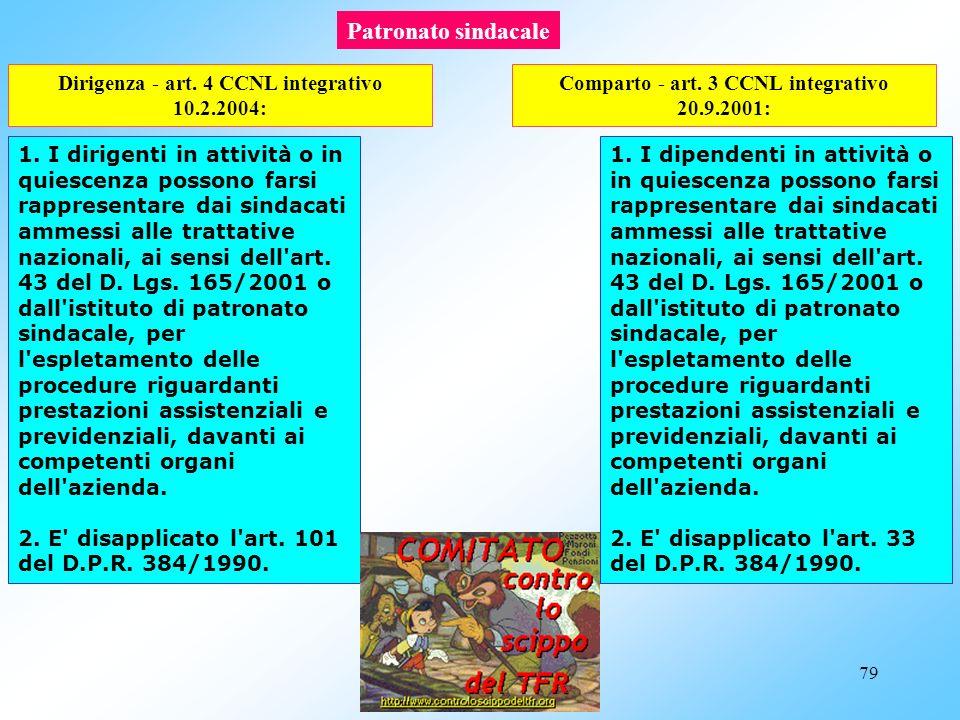 78 art. 3 CCNL integrativo dirigenza 10.2.2004: Contributi sindacali 1. I dirigenti hanno facoltà di rilasciare delega a favore dell'organizzazione si