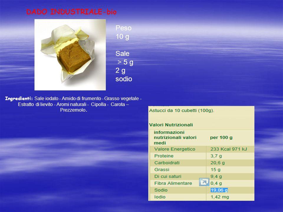 DADO INDUSTRIALE-bio Ingredienti: Sale iodato - Amido di frumento - Grasso vegetale - Estratto di lievito - Aromi naturali - Cipolla - Carota – Prezze