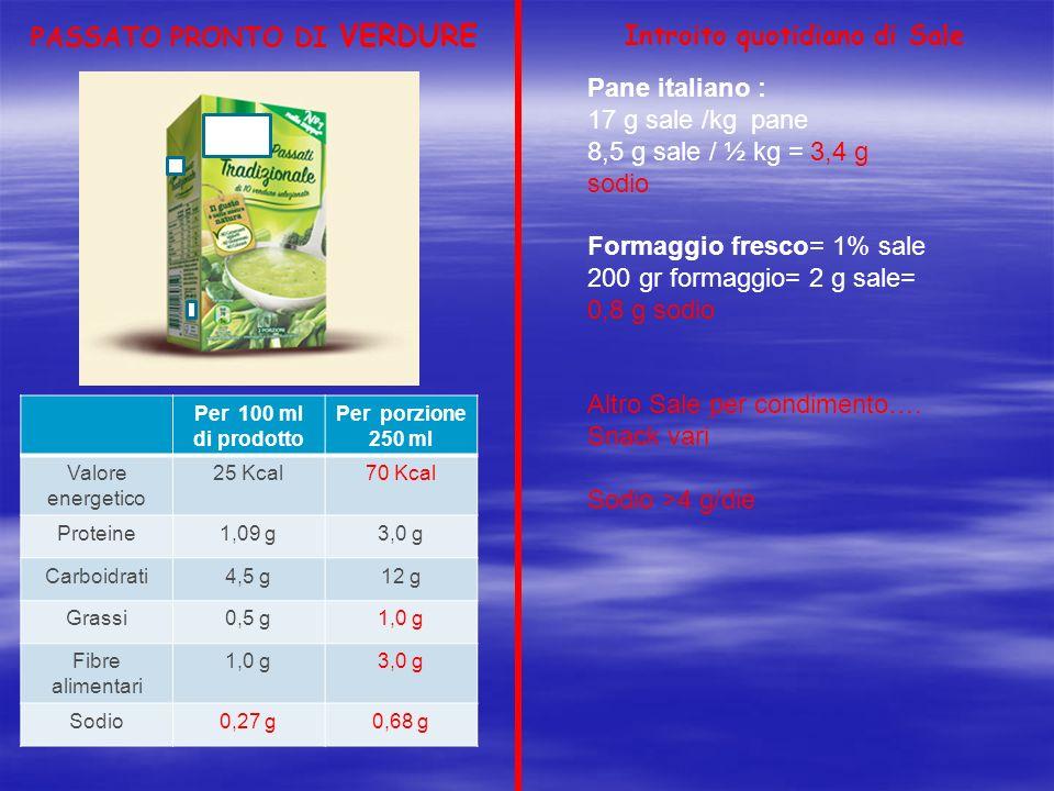 PASSATO PRONTO DI VERDURE Per 100 ml di prodotto Per porzione 250 ml Valore energetico 25 Kcal70 Kcal Proteine1,09 g3,0 g Carboidrati4,5 g12 g Grassi0