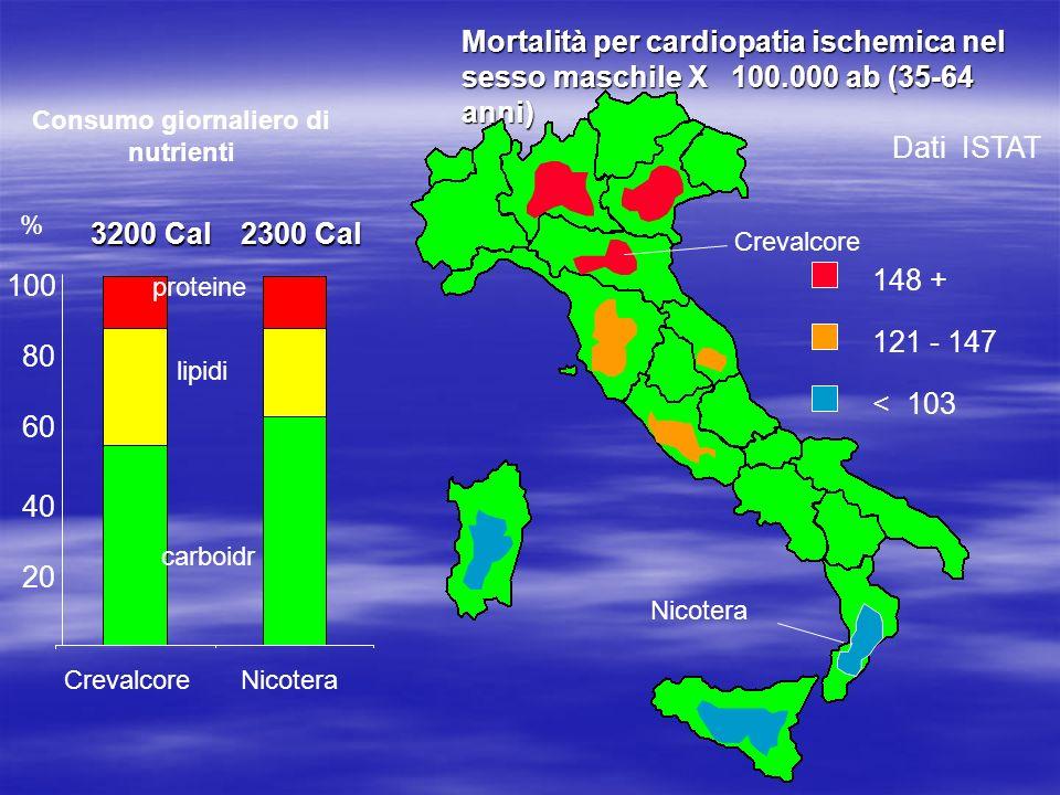 Mortalità per cardiopatia ischemica nel sesso maschile X 100.000 ab (35-64 anni) Dati ISTAT Nicotera Crevalcore 148 + 121 - 147 < 103 20 40 60 80 100