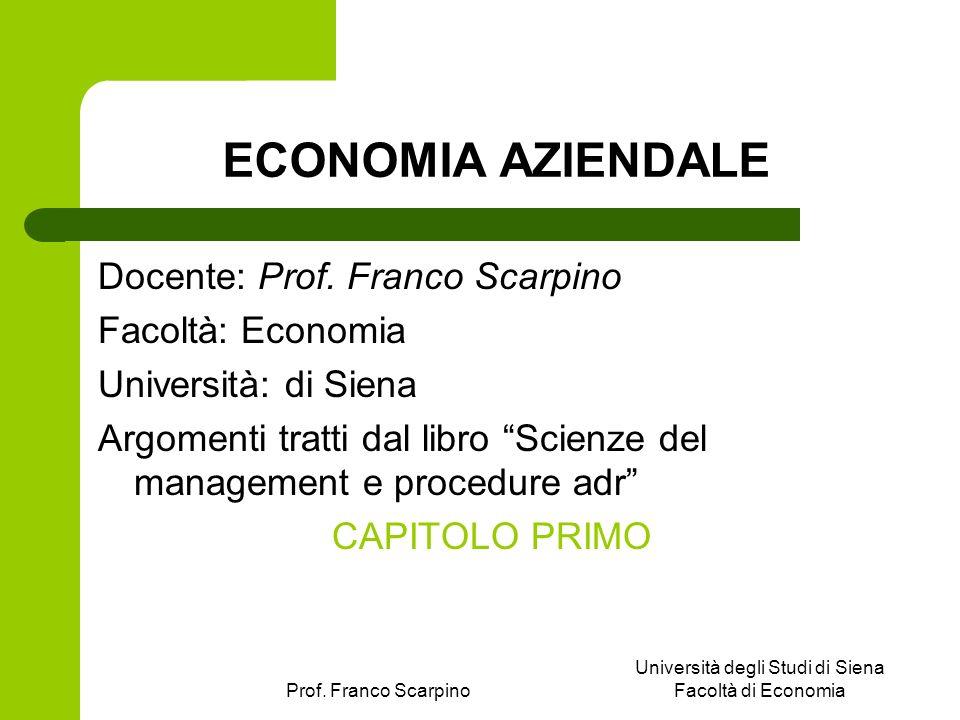 Prof. Franco Scarpino Università degli Studi di Siena Facoltà di Economia ECONOMIA AZIENDALE Docente: Prof. Franco Scarpino Facoltà: Economia Universi