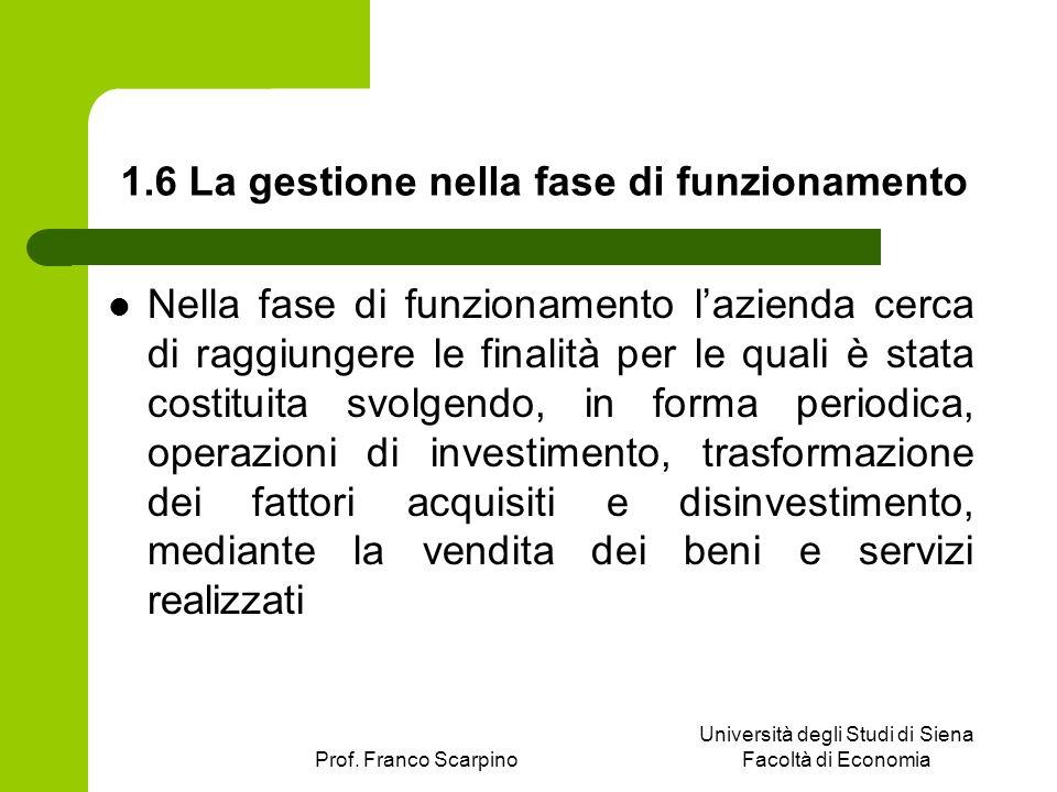 Prof. Franco Scarpino Università degli Studi di Siena Facoltà di Economia 1.6 La gestione nella fase di funzionamento Nella fase di funzionamento lazi