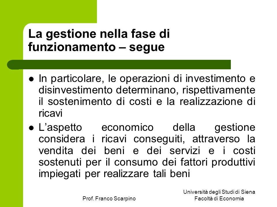 Prof. Franco Scarpino Università degli Studi di Siena Facoltà di Economia La gestione nella fase di funzionamento – segue In particolare, le operazion