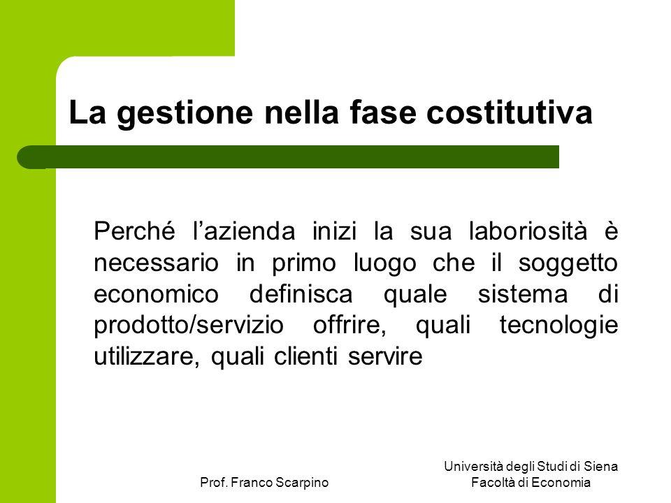 Prof. Franco Scarpino Università degli Studi di Siena Facoltà di Economia La gestione nella fase costitutiva Perché lazienda inizi la sua laboriosità