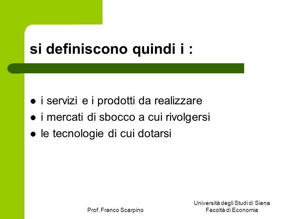 Prof. Franco Scarpino Università degli Studi di Siena Facoltà di Economia si definiscono quindi i : i servizi e i prodotti da realizzare i mercati di