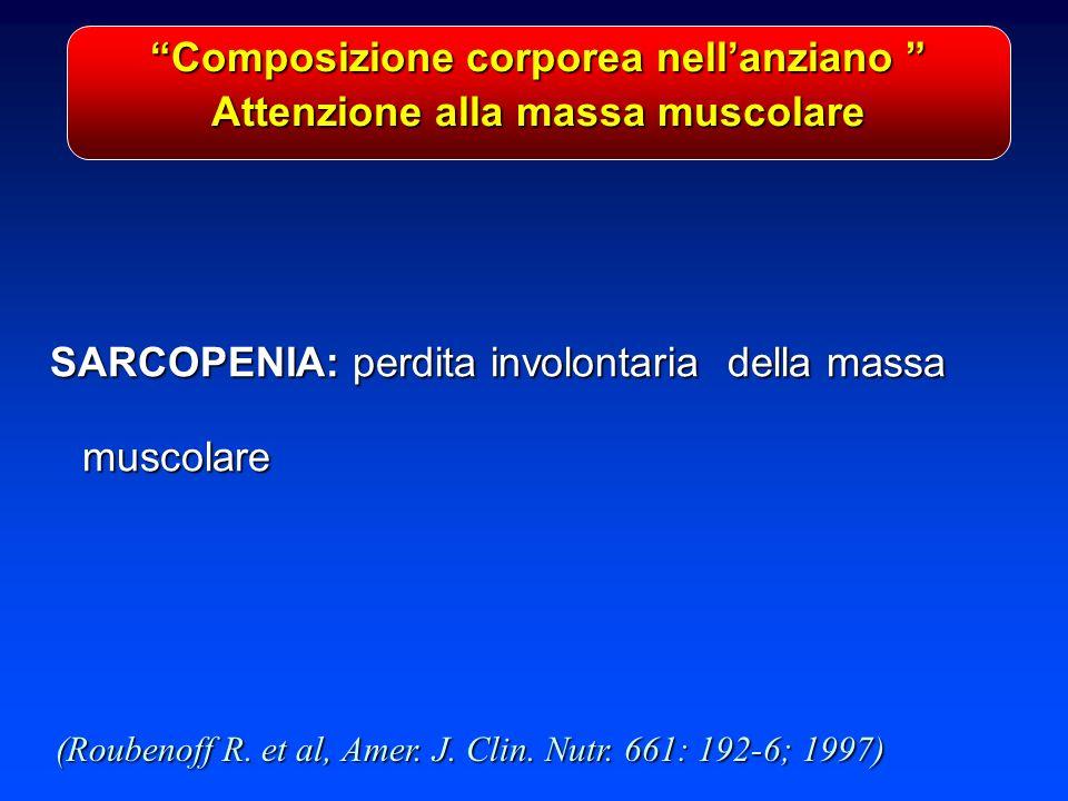 Composizione corporea nellanziano Composizione corporea nellanziano Attenzione alla massa muscolare SARCOPENIA: perdita involontaria della massa muscolare (Roubenoff R.