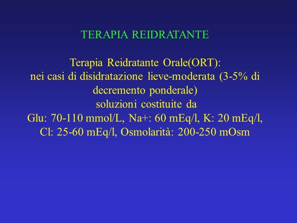 TERAPIA REIDRATANTE Terapia Reidratante Orale(ORT): nei casi di disidratazione lieve-moderata (3-5% di decremento ponderale) soluzioni costituite da Glu: 70-110 mmol/L, Na+: 60 mEq/l, K: 20 mEq/l, Cl: 25-60 mEq/l, Osmolarità: 200-250 mOsm