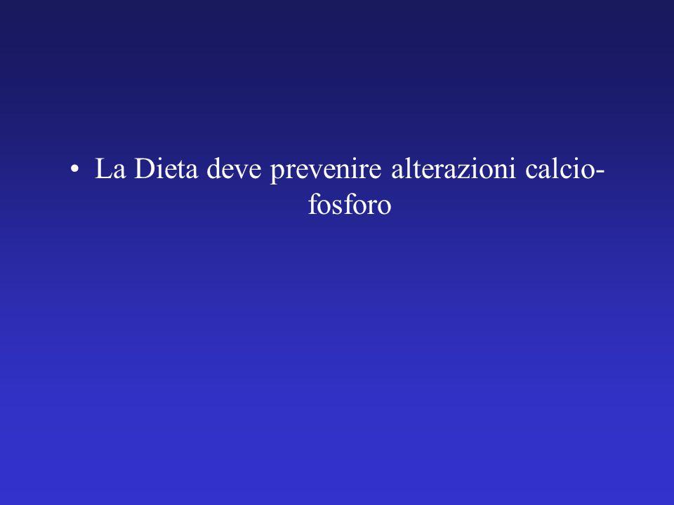 La Dieta deve prevenire alterazioni calcio- fosforo