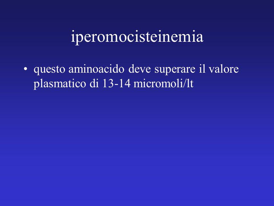 iperomocisteinemia questo aminoacido deve superare il valore plasmatico di 13-14 micromoli/lt