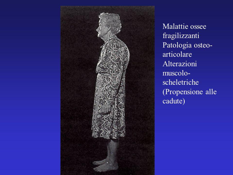 Malattie ossee fragilizzanti Patologia osteo- articolare Alterazioni muscolo- scheletriche (Propensione alle cadute)