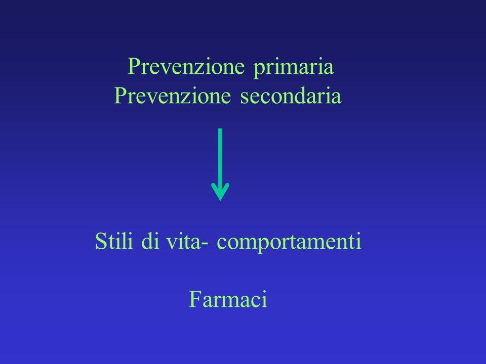 Prevenzione primaria Prevenzione secondaria Stili di vita- comportamenti Farmaci