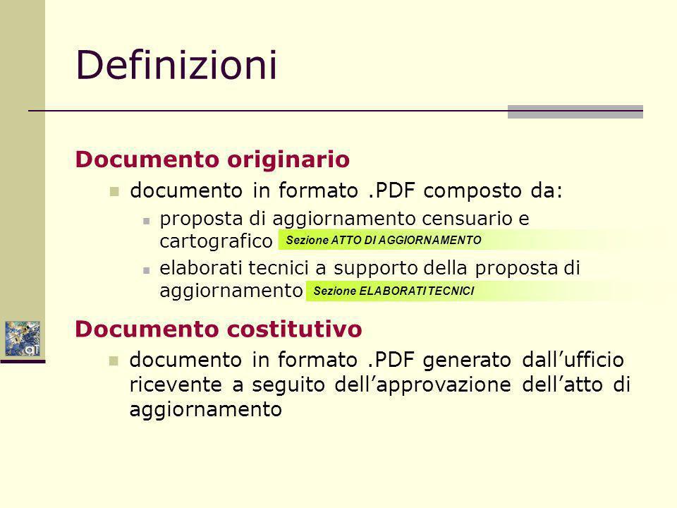 Definizioni Documento originario documento in formato.PDF composto da: proposta di aggiornamento censuario e cartografico elaborati tecnici a supporto della proposta di aggiornamento Sezione ATTO DI AGGIORNAMENTO Sezione ELABORATI TECNICI Documento costitutivo documento in formato.PDF generato dallufficio ricevente a seguito dellapprovazione dellatto di aggiornamento