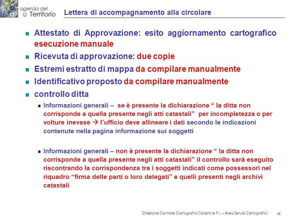 19 Direzione Centrale Cartografia Catasto e P.I.
