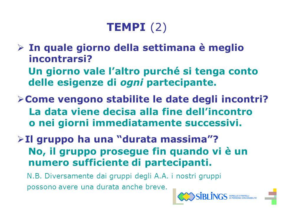 TEMPI (2) In quale giorno della settimana è meglio incontrarsi.