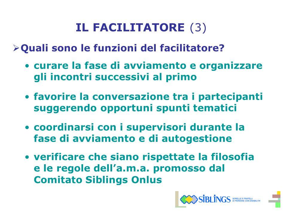 IL FACILITATORE (3) Quali sono le funzioni del facilitatore.