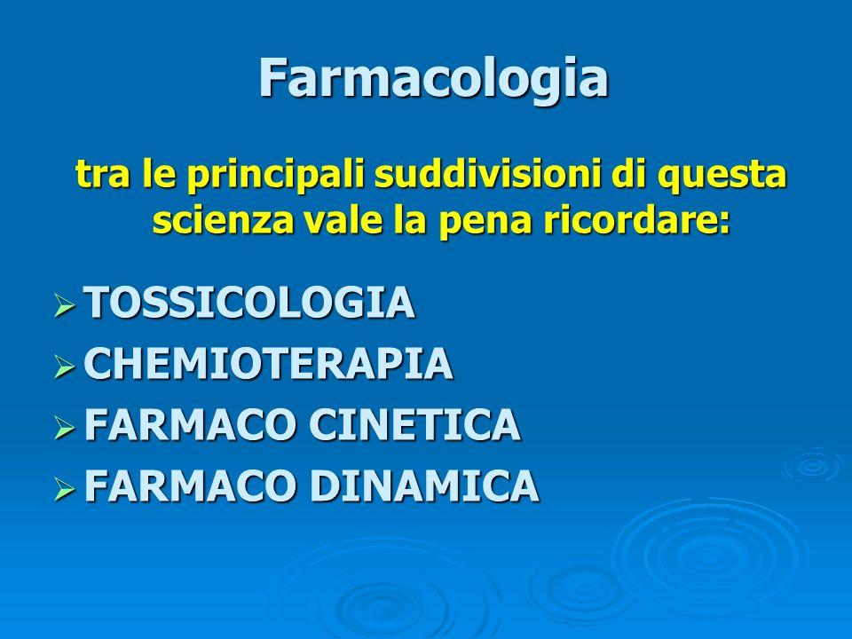 Farmacologia Farmacologia tra le principali suddivisioni di questa scienza vale la pena ricordare: tra le principali suddivisioni di questa scienza va