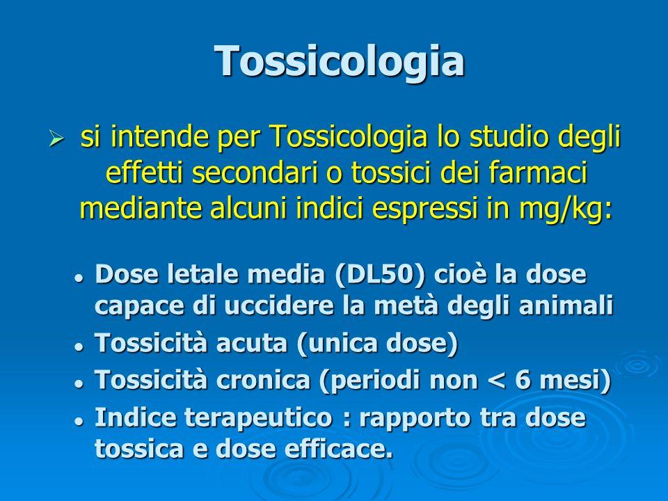 Tossicologia Tossicologia si intende per Tossicologia lo studio degli effetti secondari o tossici dei farmaci mediante alcuni indici espressi in mg/kg