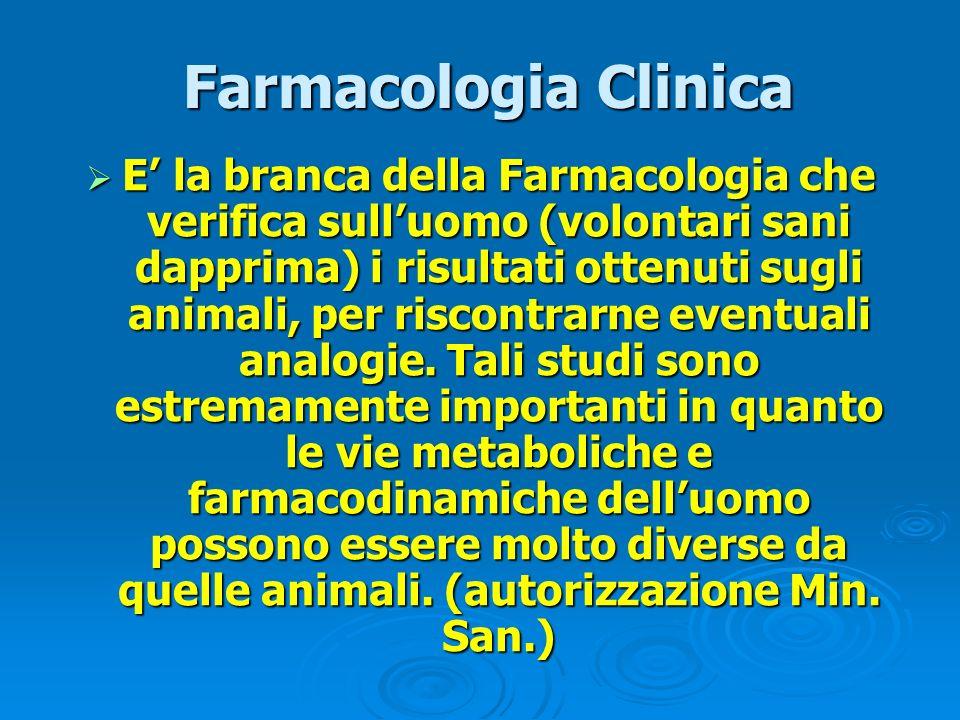 Farmacologia Clinica Farmacologia Clinica E la branca della Farmacologia che verifica sulluomo (volontari sani dapprima) i risultati ottenuti sugli an