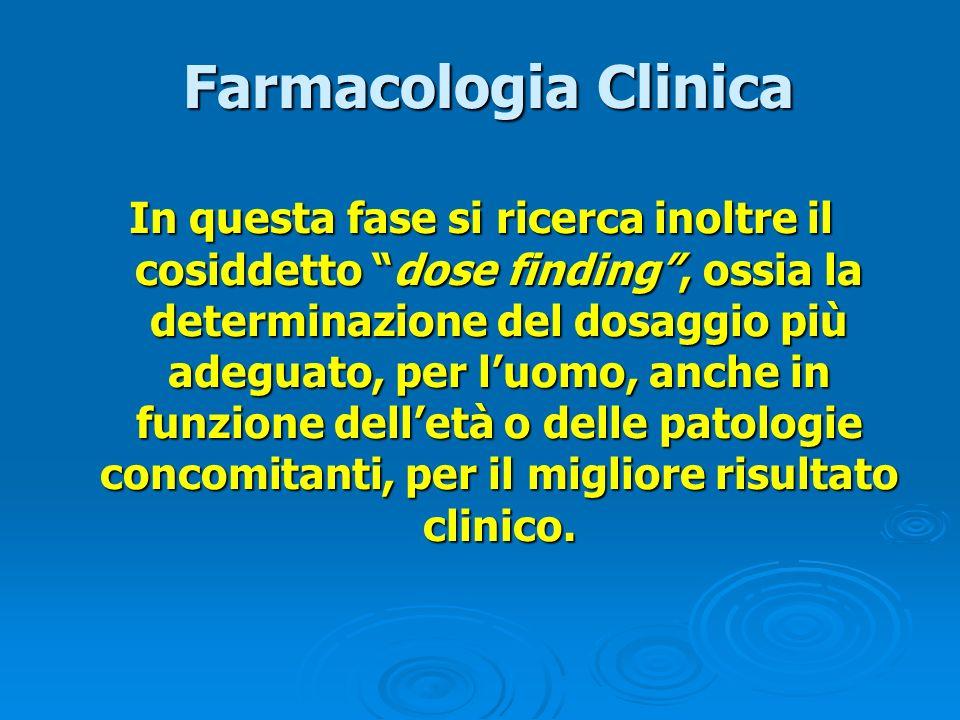 Farmacologia Clinica Farmacologia Clinica In questa fase si ricerca inoltre il cosiddetto dose finding, ossia la determinazione del dosaggio più adegu
