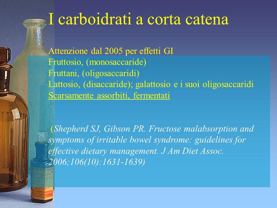 I carboidrati a corta catena Attenzione dal 2005 per effetti GI Fruttosio, (monosaccaride) Fruttani, (oligosaccaridi) Lattosio, (disaccaride); galatto