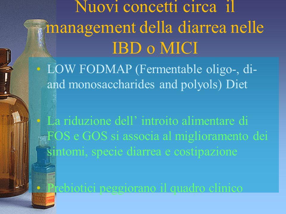 Nuovi concetti circa il management della diarrea nelle IBD o MICI LOW FODMAP (Fermentable oligo-, di- and monosaccharides and polyols) Diet La riduzio