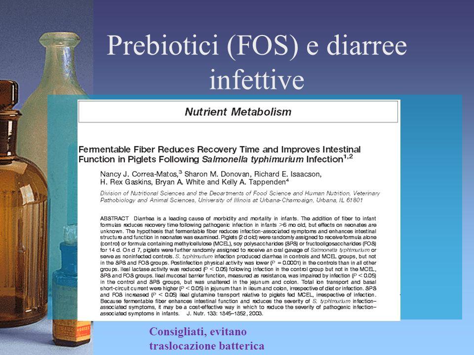 Prebiotici (FOS) e diarree infettive Consigliati, evitano traslocazione batterica