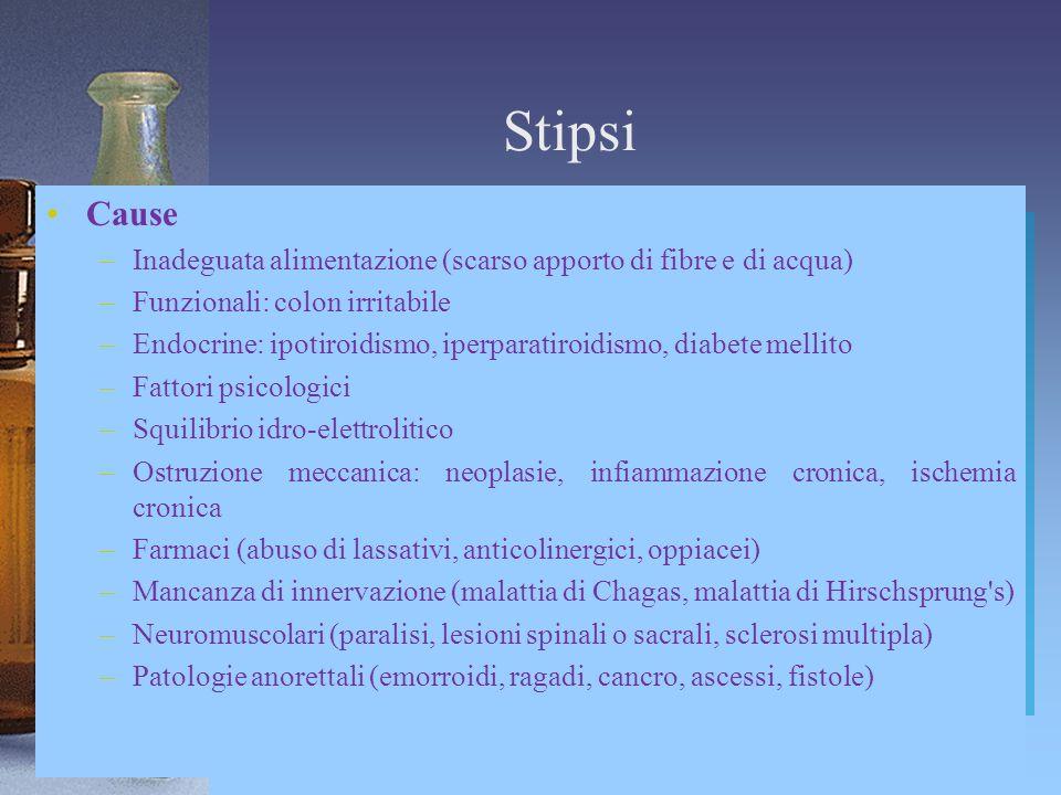 Stipsi Cause –Inadeguata alimentazione (scarso apporto di fibre e di acqua) –Funzionali: colon irritabile –Endocrine: ipotiroidismo, iperparatiroidism