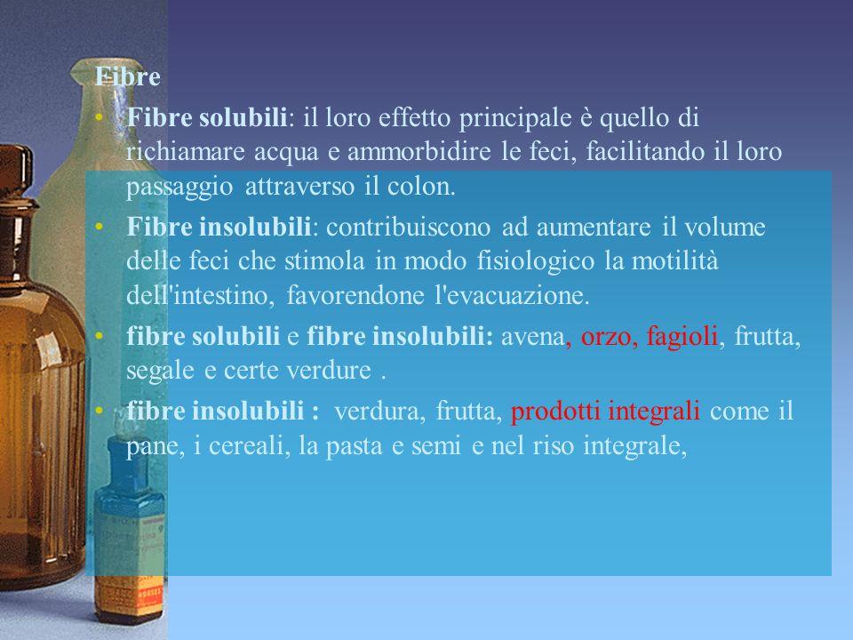 Fibre Fibre solubili: il loro effetto principale è quello di richiamare acqua e ammorbidire le feci, facilitando il loro passaggio attraverso il colon