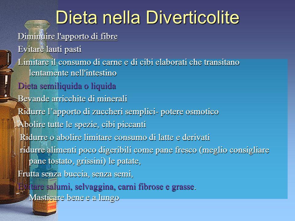 Dieta nella Diverticolite Diminuire l'apporto di fibre Evitare lauti pasti Limitare il consumo di carne e di cibi elaborati che transitano lentamente