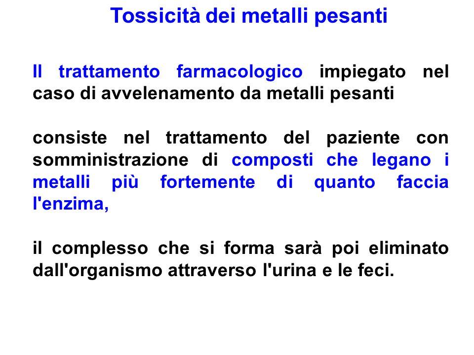 Tossicità dei metalli pesanti Il trattamento farmacologico impiegato nel caso di avvelenamento da metalli pesanti consiste nel trattamento del pazient